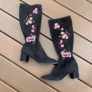3/$15!! Charlotte black floral knee high boots